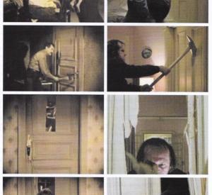"""Comparatif séquences de la porte défoncée à la hache. A gauche: """"La Charrette Fantôme"""" (1921). A droite: """"Shining"""" (1980)."""