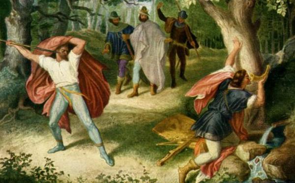 Hagen tötet Siegfried an der Quelle